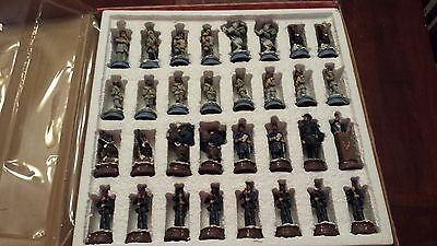 "American Civil War Chess Set with 19"" Board 32 Pieces plus Board New In Box!!!"