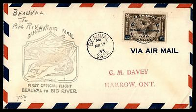 Mayfairstamps BEAUVAL SASK FIRST FLIGHT MAR 17 1933 OTTER CACHET ON COVER TO BIG