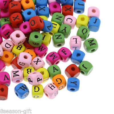 "200PCs Wood Spacer Beads Alphabet A-Z Cube Mixed 8mm x8mm( 3/8"" x 3/8"")"
