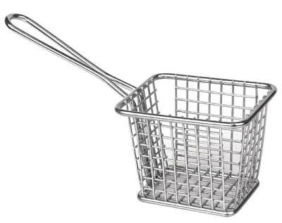 6 x Presentation Mini Square Fry Basket with Handle 80x100x80mm Stainless Steel