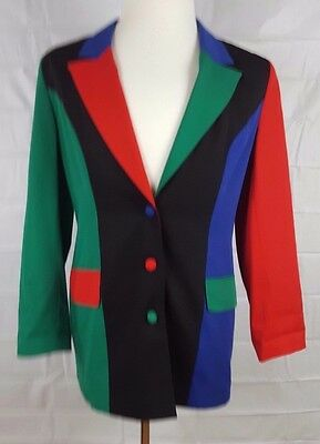 Vintage Europa Womens sz 10 color block blazer suit jacket 90's Button Down