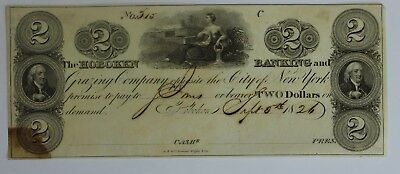 1826 $2 Two Dollar Bill US Currency Hoboken Banking & Grazing Company New York