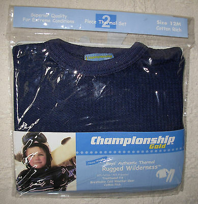 New Quality Navy Blue Size 12 Months Boys Thermal Underwear Set Long Johns
