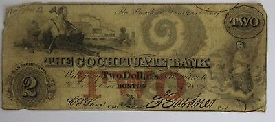 1851 $2 Two Dollar Bill US Currency The Cochituate Bank Boston Massachusetts