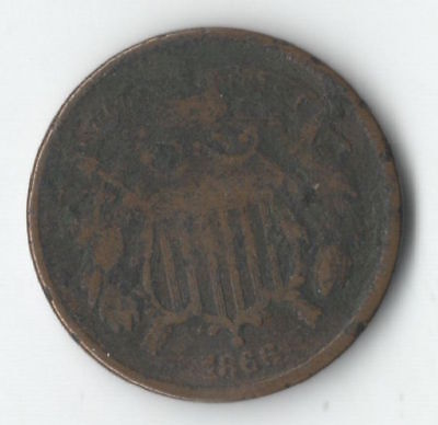 1866 Two Cent Coin - Nice Type Coin