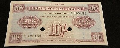 4Th Series 10 Shilling British Armed Forces Voucher in UNC Condition NICE!
