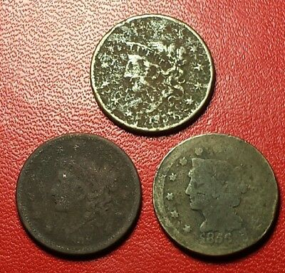 3 cull booby head large cents 1837, 1838, 1954 well circulated original coins