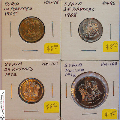 Syria 1965 - 1995 Group Of 8 Very Choice Unc. To Gem Unc. Coins.
