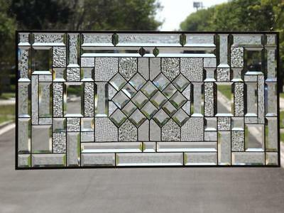 "•Reflection's in Clear•Huge Beveled Stained Glass Window Panel -38 1/2""x18 1/2"""
