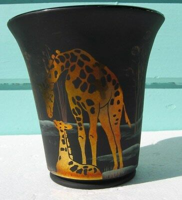 Collectable Fenton Giraffe Mothers Love Art Glass Vase Limited Edition F. Burton