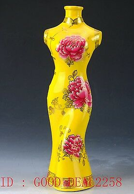 Chinese Porcelain  Handwork Carved Beauty Pattern Statue  CQQP04