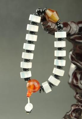 chinese natural  Chalcedony  Agate Jade beads  bracelet   XW