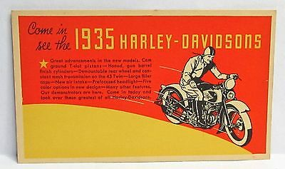 1935 HARLEY DAVIDSON Motorcycle Dealer promotional advertising postcard UNUSED *