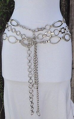 Three Vtg. to Now Silver Tone Metal Geometric Chain Belts-Ovals-Square-Circle