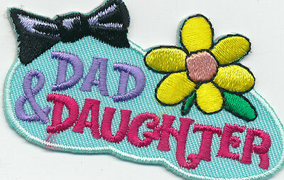 Girl DAD & DAUGHTER BLUE dance  Fun Patches Crests Badges SCOUT GUIDE Iron On
