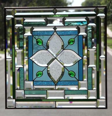 "• Visual Effect • Beveled Stained Glass Window Panel • ≈22 ½"" x 22 ½"" (57 cm)"