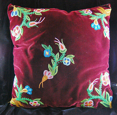 Native American First Nation Beaded VELVET Pillow Algonquin Cree Metis Ojibwe