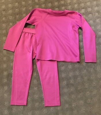 Lands End Girls Pink Thermaskin Long Johns Underwear Shirt Pants 3T