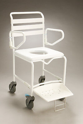 CQ Mobile Shower Commode Swingback Arms Adjustable Height Swingaway Legrests