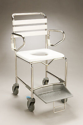 CQ Mobile Shower Commode PVC Backrest Stainless Frame Swingback Arms