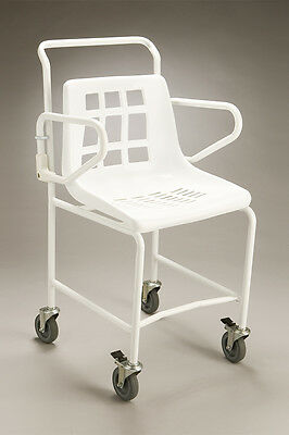 CQ Mobile Shower Chair Swivel Castors Backrest Rusting Resistant Drainage Holes