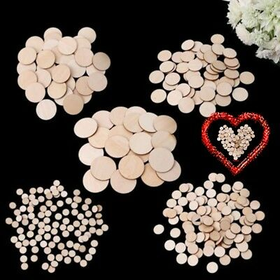 100X Unfinished Wooden 10-50mm Round Discs Rustic Embellishments DIY Art Crafts