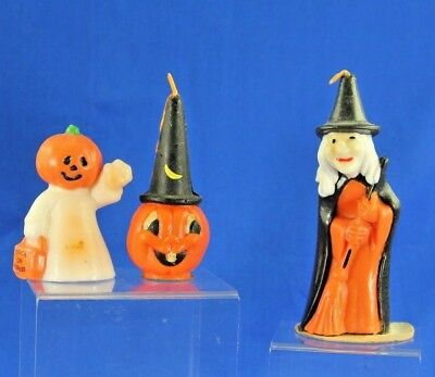Group Of 3 Vintage Halloween Candles Gurley And Others Jol Ghost Witch Hat