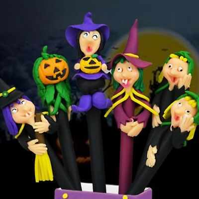 Creative Halloween Soft Pottery Ballpoint Pen Cartoon Witch Ghosts Pumpkin Pens