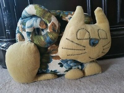 Vtg Hand Made Cat Door Stop Blue Floral Upholstery Fabric Craft