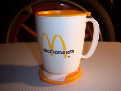 Vintage Mcdonalds Whirley Travel Mug Plastic Coffee Cup Yellow And White New Old