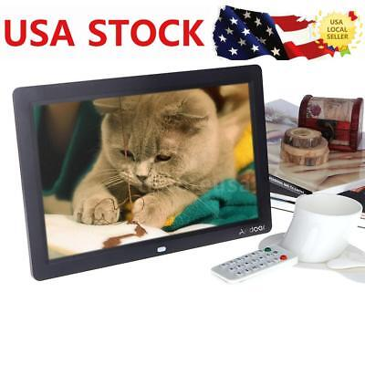 12'' TFT LCD HD Digital Photo Frame Picture Alarm Clock Movie Player+Remote G0F8