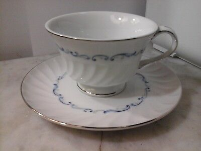 Celebrity Fine China Cup & Saucer Set Pattern -Evening Tide White & Blue