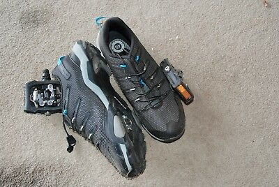 Shimano cycle shoes and matching cleat pedals. Size 46 as new.