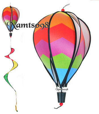 Hot Air Balloon Wind Spinner Twist Rainbow 6 Panel & Curlie Tail Breeze/Hanging