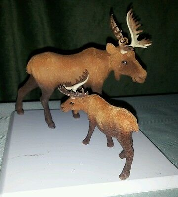 Moose Family of 2 Soft Vintage Figurines
