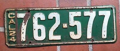 Vintage 1924 California License Plate - 762 577