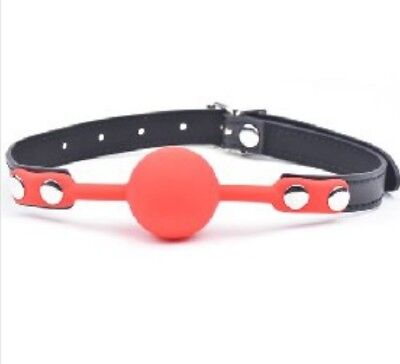 Ball Gag Silicone Adult Mouth Gag Red with Adjustable Neck Straps - NEW