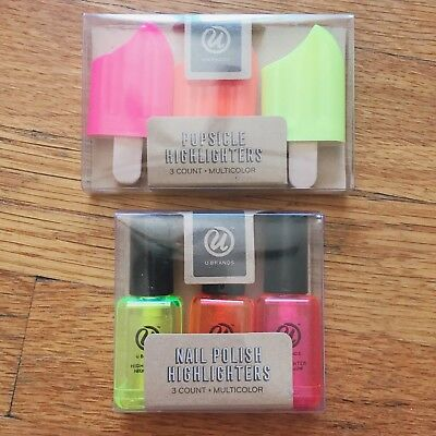 Lot of 2 Highlighter Sets - Popsicle and Nail Polish Shapes