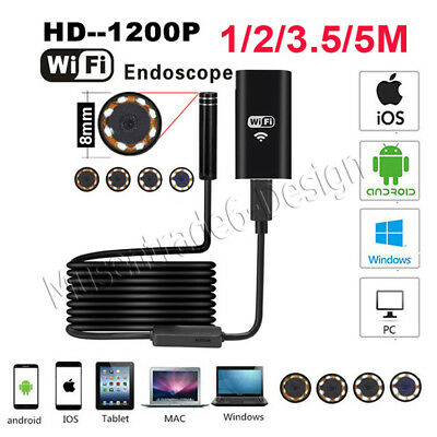 Waterproof 8LED Android iPhone Endoscope Borescope Snake Inspection CameraScope
