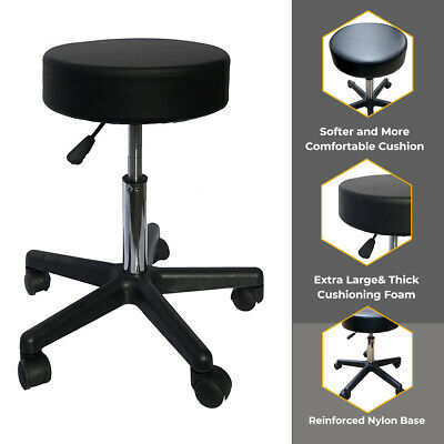 "14"" Round Height Adjustable Rolling Stool Spa Facial Massage Doctor Medical Home"