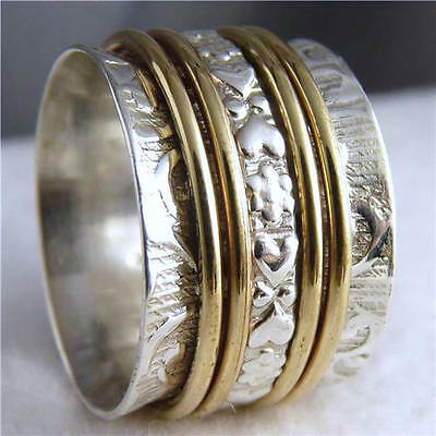 Embossed 2-Tone 5-Spin SPINNER Size US 6.75 SILVERSARI RING Solid 925 Silver