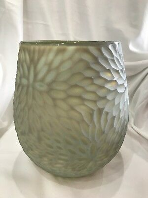 NEW green white glass matte handcrafted blown vase bowl