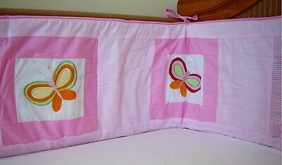 NEW sturdy pink baby girl's cotbed/cot bumper NURSERY BEDDING with butterflies