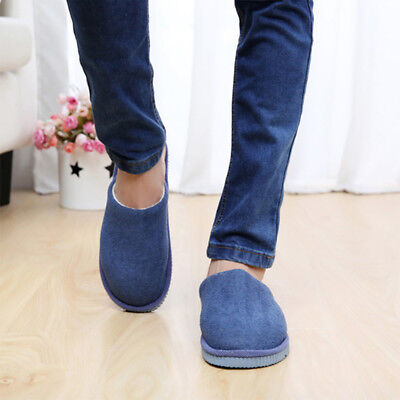 Men Women House Indoor Slippers Home Winter Warm Cotton Shoes  Anti-Slip Navy