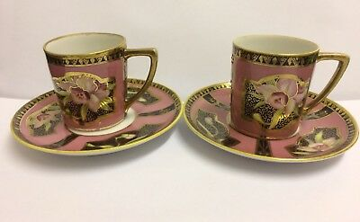 2 X Superb  Vintage Noritake Coffee Cup & Saucer ~ Orchid Decorated,