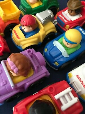 9 Fisher Price Little People Wheelies > Police Car, Fire Truck, Tow Truck, 4 x 4