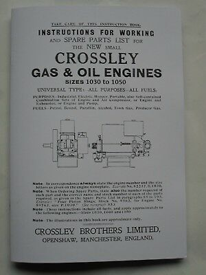 Crossley Gas & Oil Engine Instruction & Spare Parts List for 1030 to 1050