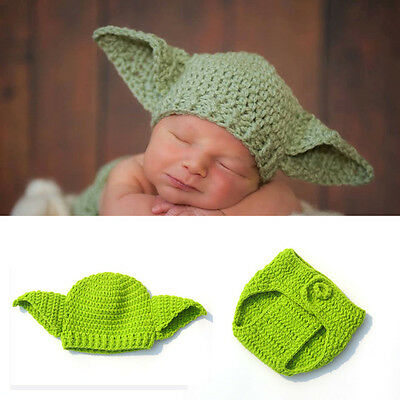 Handmade Knitted Costume Baby Star Wars Yoda Outfit Newborn Photography Props