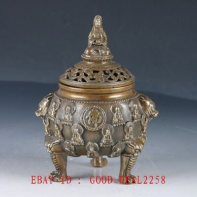 Old Chinese Bronze Buddhism Incense Burner With Ming Dynesty Xuande Mark HT136