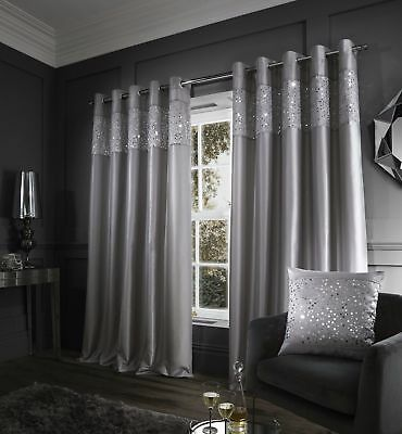 Catherine Lansfield Glitzy Eyelet Curtains Fully Lined Pleated Silver Grey Ring